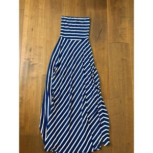 Maxi dress with blue and white stripes Bebe